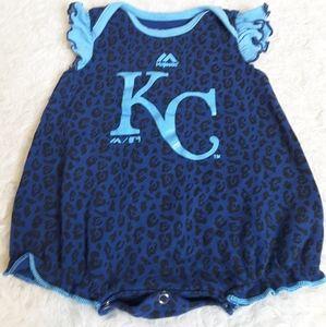 3/$15 Kansas City Royals Majestic blue onesie 0/3M